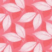 Moda Aria by Kate Spain - 4555 - White Leaves on Coral  - 27233 11 - Cotton Fabric